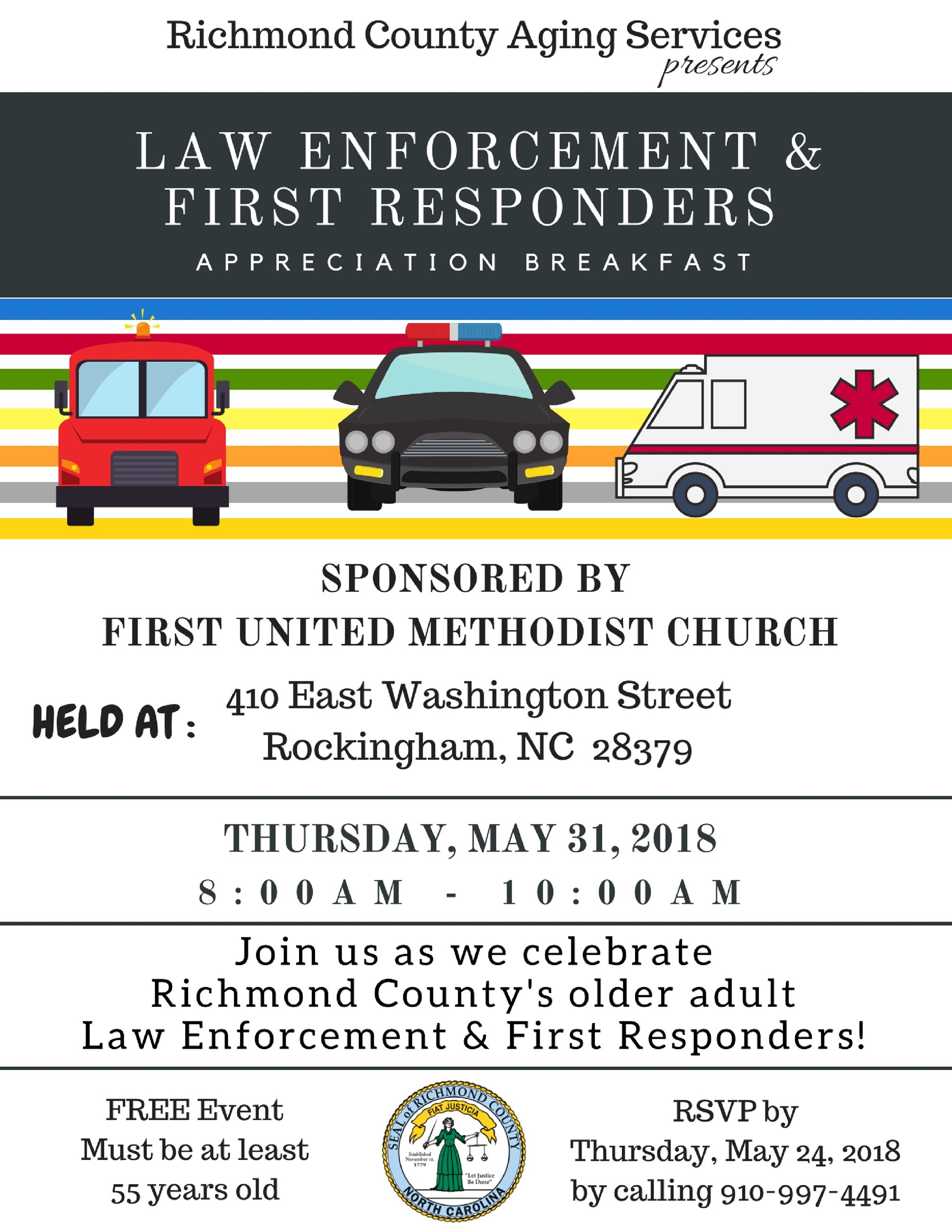First United Methodist- Law Enforcement and First Responders Breakfast 5-31-18
