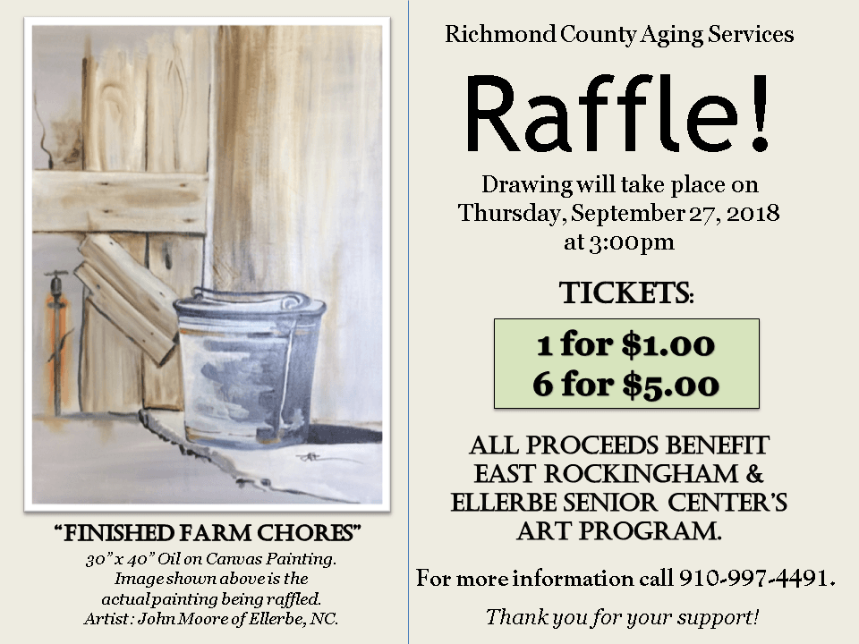 Aging Services- Fundraiser- Raffle- Art Class- Oil Painting- 7-2-18 end 9-28-18