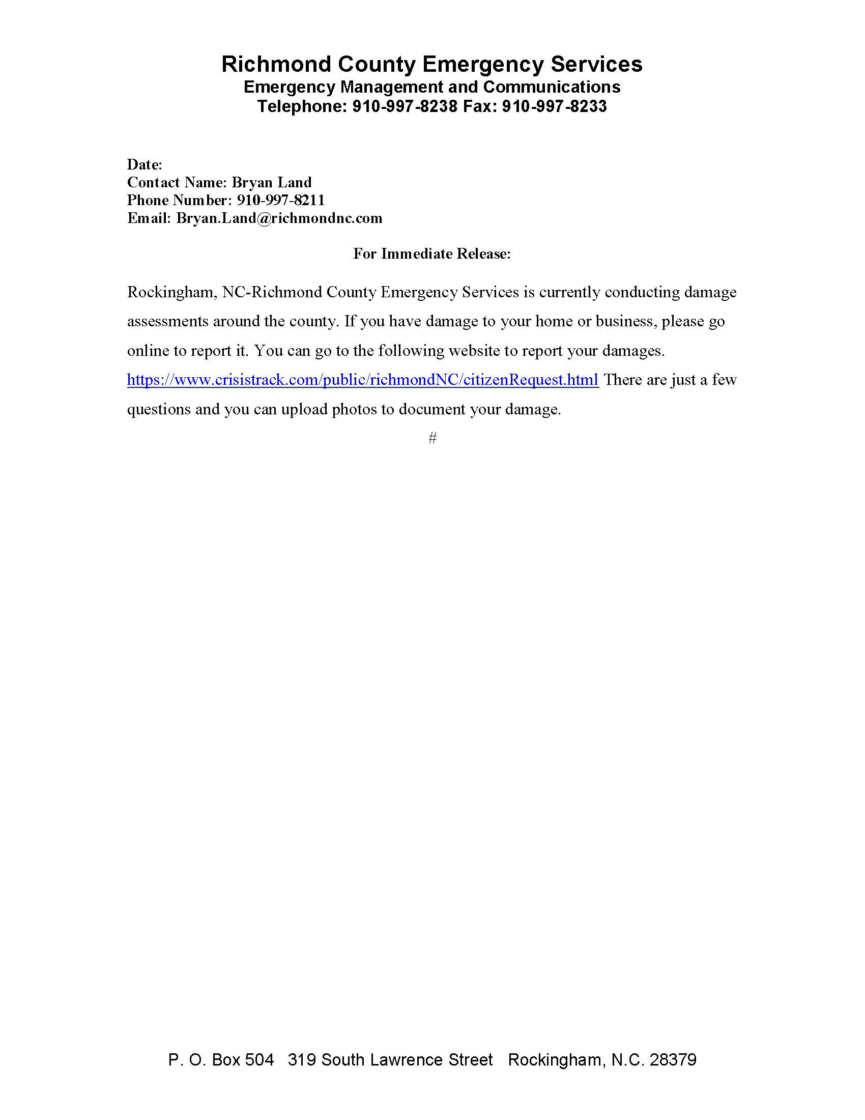 Damage Assessment Press Release