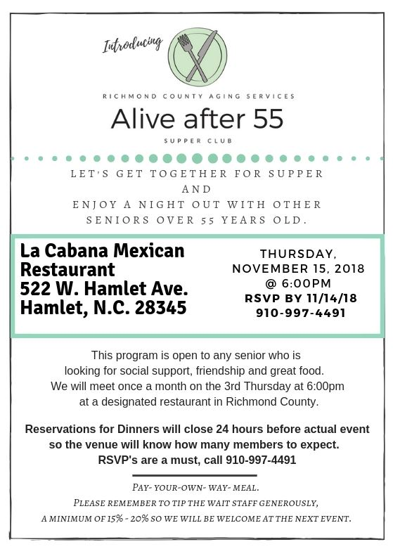 La Cabana Mexican Restaurant Supper Club Announcement- November 2018