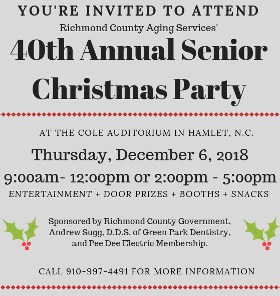 40th Annual Senior Christmas Party 2018