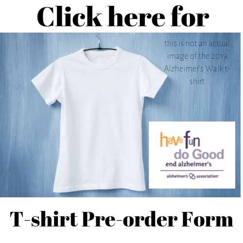 Alz Walk 2019 T-shirt order form
